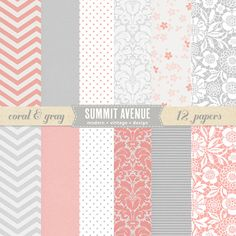 INSTANT DOWNLOAD Coral and Gray digital scrapbook paper pack & patterns - for photographers or small commercial