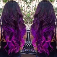 bright purple ombre hair  http://www.hairstylo.com/2015/07/purple-hair-color.html