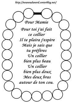 Coloriage collier et poème bonne fête mamie