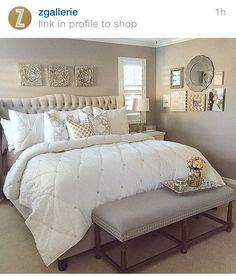 Bedroom inspiration - The bed is the focus point...overly done bedding in neutral tones