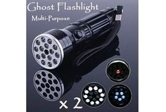 NEW Multi-Purpose 3 in 1 Ghost Hunting Flashlights x 2 + FREE Batteries