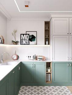 Wzorzysta podłoga i kolorowe szafki w kuchni - Lovingit.pl