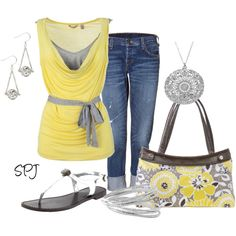 yellow, gray, and a thirty-one purse! :)  (I'm not usually a big fan of yellow, but this outfit with the gray mixed in really spoke to me.)