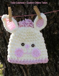 White and Pink Bunny Hat White and Pink Newborn by NanasGoneWild, $24.00