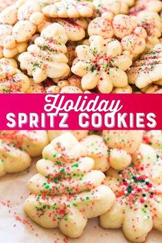 Spritz Cookies Holiday Spritz Cookies Recipe - These easy Christmas spritz cookies are a wonderfully tasty classic!Holiday Spritz Cookies Recipe - These easy Christmas spritz cookies are a wonderfully tasty classic! Christmas Sweets, Christmas Cooking, Holiday Baking, Christmas Desserts, Christmas Parties, Christmas Cookie Boxes, Christmas Time, Simple Christmas, Christmas Christmas