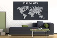 Canvas painting World map sketch  Wall Art decor