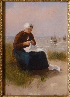 D.A.C. Artz: vissersvrouw in de duinen olieverf op paneel