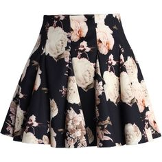 Chicwish Faded Roses Mini Skater Skirt ($40) ❤ liked on Polyvore