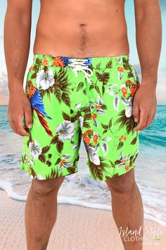 Wear these bright fun shorts to stand out in any crowd. Light-weight, unlined, 2 x side pockets and an elastic waistband. Awesome set when you pair it with the matching Shirt. Great for a Bucks Night, Cricket, Rugby, beach day, Australia Day & more. Check our store for more. #mensshorts #festivalshorts #beachshorts #matchinghawaiianshirts #magnumshorts #magnumpi #springbreak #shorts #mensfashion #hawaiianshorts #summer #sale #partyshorts #colourful #islandstyleclothing #hibiscusflowers #parrots