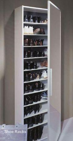 Diy Shoe Rack Design Ideas #diyshoerack Closet Shoe Storage, Diy Shoe Rack, Shoe Storage Cabinet, Shoe Racks, Shoe Storage With Mirror Door, Shoe Cabinet Design, Cupboard Design, Cabinet Decor, Narrow Shoe Rack