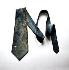 grey brown space tie handpainted batik silk men tie by batikelena
