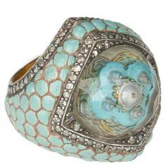 Sevan Bicakci Engraved Carving Ring (Quartz/Diamond) Hirshleifers found on Polyvore