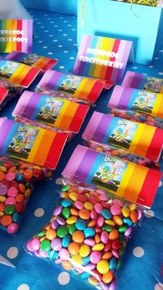 Rainbow Sweets in Packets with Lollos Bag Toppers 4th Birthday Parties, 3rd Birthday, Rainbow Sweets, Cloud Party, Party Packs, Childrens Party, Party Time, Sprinkles, Birthdays