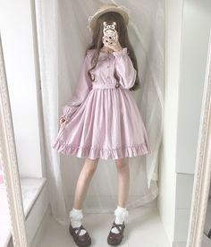 Cool Japanese Loose Print Mori Girl Sweet Kawaii Doll Collar Lolita Dress #Tk54