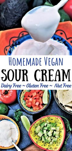 A dairy free, nut free, and gluten free vegan sour cream made with just 5 simple ingredients at home. Use silken tofu to whip up a creamy delicious batch of healthy vegan sour cream to top your tacos, burritos, soups and to use in dips. Tofu Recipes, Dairy Free Recipes, Vegan Gluten Free, Healthy Recipes, Dairy Free Meals, Dairy Free Dips, Dairy Free Sauces, Gluten Free Tacos, Vegan Sauces