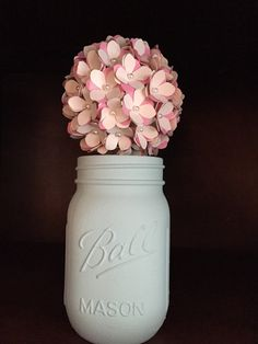 Rustic mint cream and pink paper hydreanga by SisterActDesigns