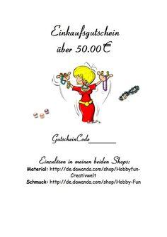 Gutschein 50,00€ von Hobby-Fun/kreative Schmuckideen auf DaWanda.com
