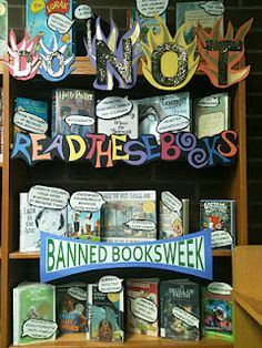 "I love this banned books display. ""Suggests children could avoid doing the dishes... by breaking them!"