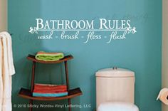 Bathroom Rules vinyl wall lettering words sticky art home decor quotes stickers decals: Home Kitchen dream-home Bathroom Wall Quotes, Bathroom Rules, Wall Decor Quotes, Bathroom Kids, Bathroom Vinyl, Bathroom Colors, Bathroom Stuff, Bathroom Humor, Kids Bath