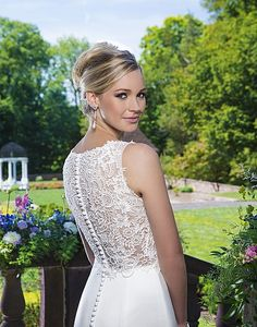 Style 3862: Satin and venice lace fit and flare accentuated with a v-neck neckline. | Sincerity Bridal