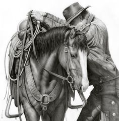 In this latest horse pencil drawing, award-winning western artist Annette Randall depicts a compelling relationship between a cowboy and his horse Horse Pencil Drawing, Horse Drawings, Art Drawings, Pencil Drawings, Pencil Art, Cowboy Horse, Cowboy Art, La Pieta, Westerns