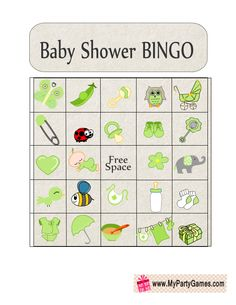 Baby Shower Picture Bingo Game Cards in Green Color