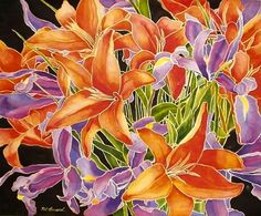 PURPLE/VIOLET: The secondary triad -- Violet/Orange/Green -- is a wonderful & powerful color scheme.  (watercolor by Pat Howard