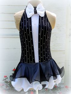 Tuxedo Style Figure Ice Skating Dance Dress w/ Pinstripes