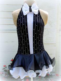 Tuxedo Style Figure Ice Skating Dance Dress w/ Pinstripes & Bow Tie Detail…