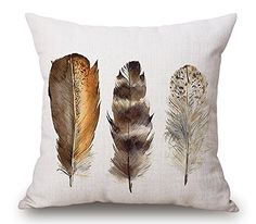 """Droyee Linen Cotton Throw Pillow Case Decorative Cushion Covers Indian National Style Coffee Feather(18""""*18"""") Droyee http://www.amazon.com/dp/B015OFONQC/ref=cm_sw_r_pi_dp_IuoSwb0FDMS2C"""