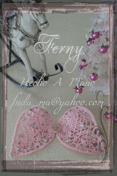 "176 ""B"" Alas de Angel / Angel Wings  Crochet Angel Wings with Bling Crystal White & Pink and Heart Pendent / Alas de Angel tejidas a Crochet con Cristal Rosa y Blanco y Dije de Corazon.  https://www.facebook.com/Ferny.HechoAMano/photos/pb.269222416525542.-2207520000.1423066877./654438321337281/?type=3&theater"