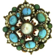 Antique Austro Hungarian Untreated Turquoise Genuine Pearl Hardened Enamel Gilted Silver Brooch Pin