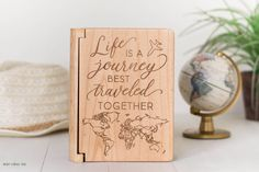World Map Photo Album, Life is a Journey, Best Traveled Together Wedding Gift, World Travel, Wedding Anniversary, Wood Anniversary, Airplane