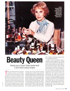 Estee Lauder was probably a beauty product for you before. After you read Estee Lauder and 10 Facts You Didn't Know. You'll see a self-made empire of Estee. Aerin Lauder, Estee Lauder, Peace And Chaos, Unique Business Ideas, Aesthetic Clinic, City Office, Facts You Didnt Know, Important People, Kiss Makeup