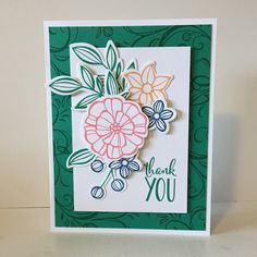 Enjoying the new stamp set, Falling Flowers, from Stampin' Up! The coordinating framelits, May Flowers, are so nice too and the stamps and framelits are available in a bundle at a discount !