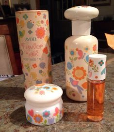 Vintage 1970s Avon Set of 4 Flower Talk Perfume and Powder. Great set of 4 pieces from Avons 1970s Flower Talk collection. Included is the powder, cologne mist, rollette, and cream sachet. Please email
