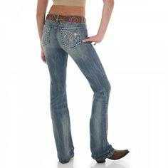 Rock 47 by Wrangler Women's Fleur De Lis Boot Cut Jeans