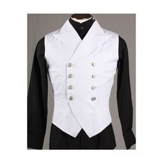 Steampunk Victorian Double-Breasted Waistcoat Vest White ❤ liked on Polyvore featuring outerwear, vests, victorian vest, white waistcoat, steam punk vest, vest waistcoat and steampunk vest
