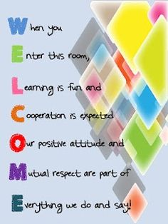 Welcome sign for classroom door