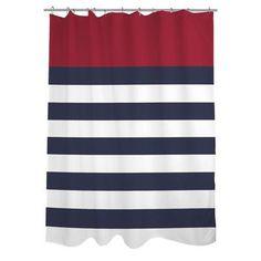 One Bella Casa Nautical Striped Shower Curtain Color: