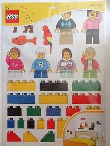 """NEW LEGO LARGE WALL STICKERS DECALS MINIFIGURES & BRICKS 3 SHEETS 24""""x18"""" 850797"""