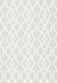 Fabrics - Summer Palace Fret Mineral Fabric I LynnChalk.com - gray and white fabric, trellis fabric, trellis style fabric,