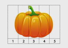 Предложите малышам собрать вот такие математические пазлы, а заодно повторите  названия овощей . Fall Preschool Activities, Preschool Printables, Preschool Math, Preschool Worksheets, Writing Activities, Kindergarten, Bricolage Halloween, Fete Halloween, Halloween Pumpkins