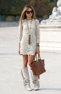 Street Style Paris Fashion Week Spring 2014 Isabel Marant dress and boots, Valentino bag