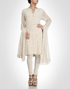 Beige suit with embroidery. Shop Now: www.kimaya.in