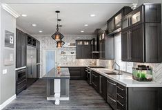 Kitchen Luxury Design With Grey Cabinet And Whit