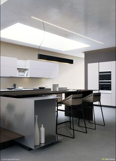 These modern kitchen visualizations, by Deltatracing, covers a plethora of layouts not only of floor plan, but including creative use of wall cabinets for inter