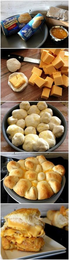 Grilled Cheese Pull-Apart Rolls - Love with recipe... Now add some bacon and we're golden!