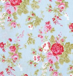 Blue Skies and Roses Wallpaper for a little girls bedroom or bathroom!