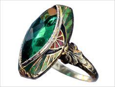 1920s Art Deco Green Crystal & Enamel Ring, 14K